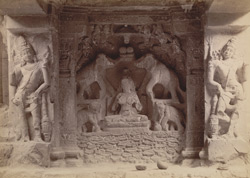 Figures at the entrance of Kailas cave temple [Ellora]